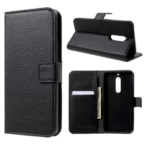 Litchi Skin Wallet Leather Magnetic Case for Nokia 5 - Black