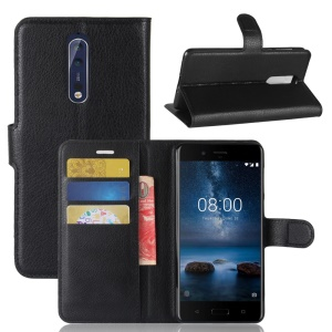 Litchi Skin Wallet Leather Magnetic Protective Cover for Nokia 8 - Black