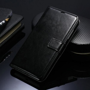 Crazy Horse Wallet Stand Leather Case for Microsoft Lumia 535 / 535 Dual SIM - Black