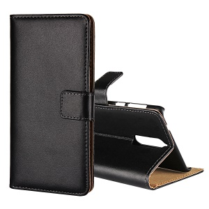 Genuine Leather Wallet Stand Cover for Nokia 8 - Black