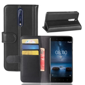 Genuine Split Leather Wallet Stand Flip Cover Shell for Nokia 8 - Black