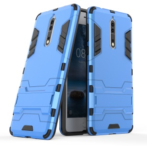 For Nokia 8 Cool Guard Plastic TPU Cell Phone Protective Case with Kickstand - Baby Blue