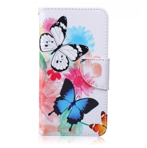 Patterned Leather Wallet Phone Cover for Microsoft Lumia 640 Dual SIM / 640 LTE - Butterflies with Flowers