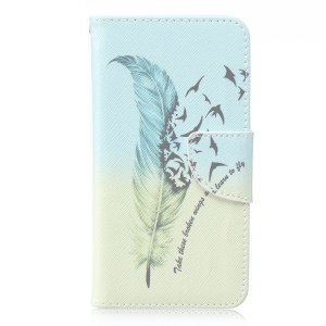 For Microsoft Lumia 640 Dual SIM / 640 LTE Patterned Leather Wallet Flip Stand Cover - Feather and Birds