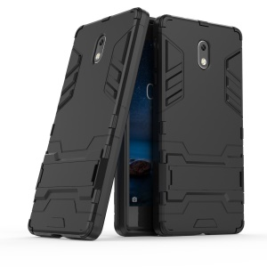 Shockproof PC + TPU Hybrid Kickstand Phone Case for Nokia 3 - Black
