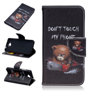 Patterned Wallet Leather Case for Microsoft Lumia 650 / Dual SIM - Bear and Do Not Touch My Phone
