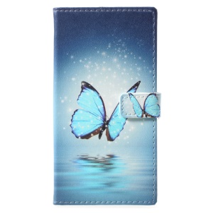 Pattern Printing Wallet Leather Stand Cover for Nokia 9 - Blue Butterfly