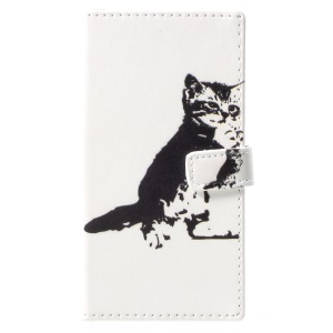 Pattern Printing Magnetic Leather Stand Case for Nokia 9 - Black and White Cat