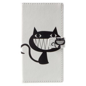 Pattern Printing Magnetic Leather Stand Cover for Nokia 9 - Black Cat