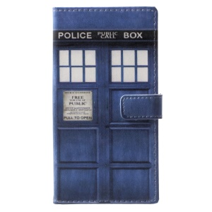 Pattern Printing Wallet Leather Cover Case for Nokia 9 - Police Public Call Box