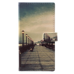 Pattern Printing Wallet Leather Case with Stand for Nokia 9 - Dock at Sunset