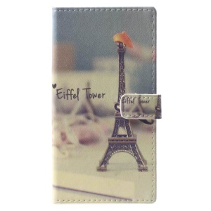 Pattern Printing Wallet Leather Cover with Stand for Nokia 9 - Eiffel Tower