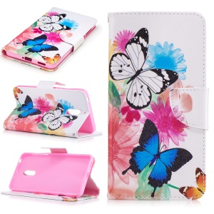 Pattern Printing Leather Wallet Case for Nokia 6 - Vivid Butterflies