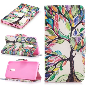 Pattern Printing Leather Wallet Cover for Nokia 6 - Colorized Tree
