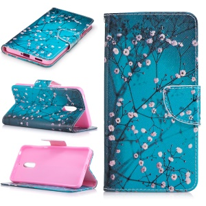 Pattern Printing Leather Card Holder Case for Nokia 6 - Tree with Flowers