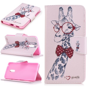Pattern Printing Wallet Leather Stand Case for Nokia 6 - Adorable Giraffe Wearing Glasses