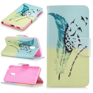 Pattern Printing Wallet Leather Stand Cover for Nokia 6 - Feather Pattern