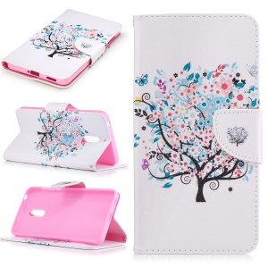 Pattern Printing Magnetic Leather Wallet Case for Nokia 6 - Colorized Tree
