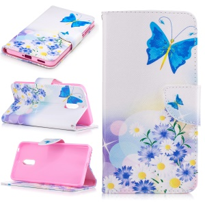 Pattern Printing Phone Leather Wallet Case for Nokia 6 - Blue Butterfly and Flowers