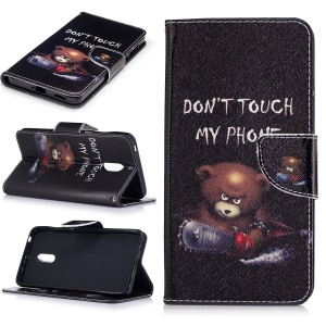 Pattern Printing Wallet Leather Protection Case for Nokia 6 - Brown Bear