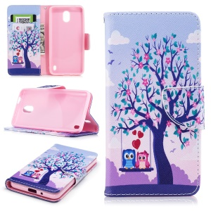 Pattern Printing PU Leather Wallet Stand Cell Phone Casing for Nokia 2 - Owls On Swing