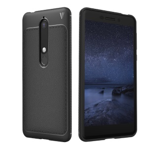 LENUO Litchi Skin TPU Mobile Phone Case for Nokia 6.1 (5.5-inch) - Black