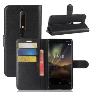 Litchi Texture Wallet Leather Mobile Phone Case for Nokia 6.1 (5.5-inch) - Black