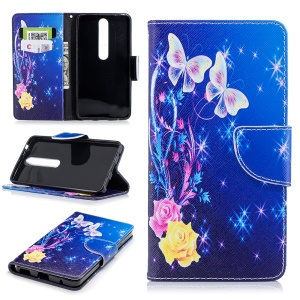 For Nokia 6.1 (5.5-inch) Patterned PU Leather Stand Protective Cover - Roses and Butterflies