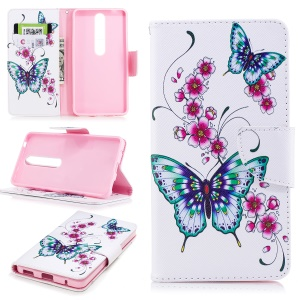 For Nokia 6.1 (5.5-inch) Patterned PU Leather Stand Mobile Phone Shell - Butterflies and Flower