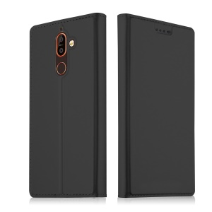 Auto-absorbed Leather Card Holder Case with Stand for Nokia 7 plus - Black