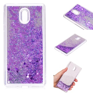 Glitter Moving Quicksand Mirror Surface TPU Shell Case for Nokia 3 - Purple