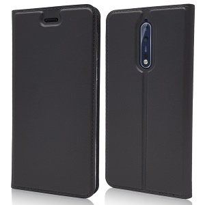 Magnetic Leather Card Holder Stand Case for Nokia 8 - Black