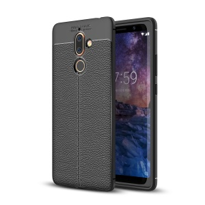 Litchi Grain Soft TPU Back Cover for Nokia 7 plus - Black