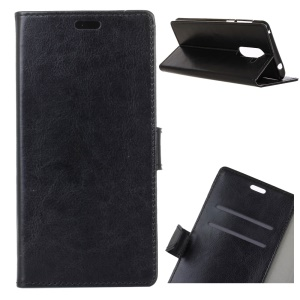 Crazy Horse Texture Wallet Stand Leather Case for Nokia 7 plus - Black