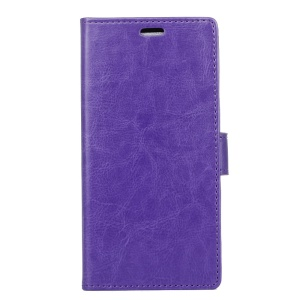 Crazy Horse Texture Wallet Stand Leather Cell Phone Case for Nokia 7 plus - Purple