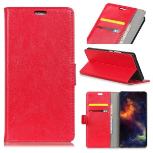 Crazy Horse Stand Leather Wallet Cell Phone Cover for Nokia 7 plus - Red