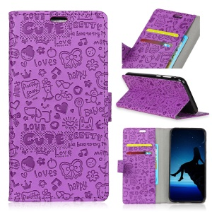 Cartoon Graffiti Wallet Stand Flip Leather Mobile Casing for Nokia 7 plus - Purple