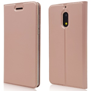 Magnetic Adsorption PU Leather Card Holder Mobile Phone Flip Case with Stand for Nokia 6 (2017) - Rose Gold
