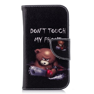 Pattern Printing Leather Wallet Stand Protective Casing for Nokia 1 - Bear and Do not Touch My Phone