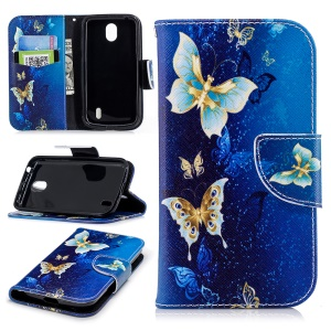 Pattern Printing Wallet Stand Leather Flip Phone Cover for Nokia 1 - Blue Butterfly
