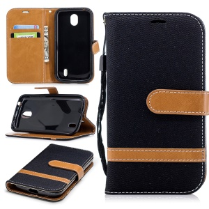 Splicing Jean Cloth PU Leather Wallet Stand Case with Strap for Nokia 1 - Black