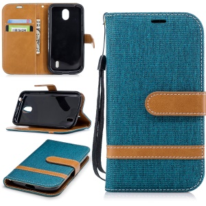 Splicing Jean Cloth PU Leather Wallet Stand Cell Phone Case with Strap for Nokia 1 - Green