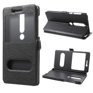 Für Nokia 6 (2018) Silk Textur Dual Window Leather Stand Case - Schwarz