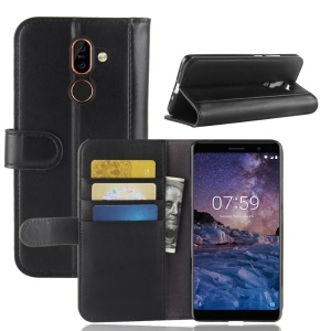 Genuine Split Leather Wallet Stand Phone Case for Nokia 7 plus - Black