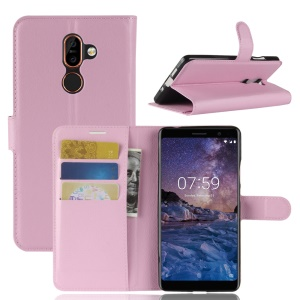 Litchi Skin PU Leather Wallet Stand Mobile Phone Shell for Nokia 7 plus - Pink