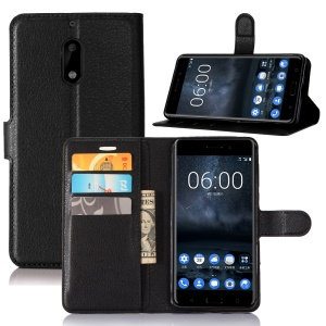 For Nokia 6 Litchi Grain 3 Card Holders Wallet Leather Stand Case - Black