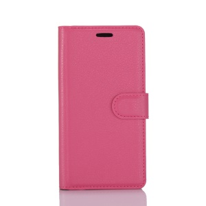 Litchi Grain 3 Card Holders Wallet Leather Mobile Case for Nokia 6 - Rose