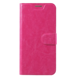 Crazy Horse Wallet Magnetic Stand Leather Flip Case (Built-in Steel Sheet) for Nokia 7 plus - Rose