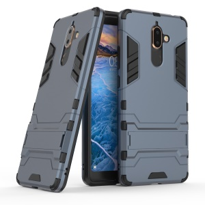 Cool Guard Plastic TPU Hybrid Back Casing with Kickstand for Nokia 7 plus - Dark Blue