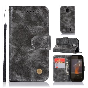 Premium Vintage Leather Wallet Cover for Nokia 1 - Grey